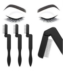 Boao 4 Pieces Foldable Eyelash and Eyebrow Comb